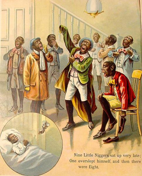 Девять негритят, поев, клевали носом. (Один не смог проснуться, их осталось восемь.)